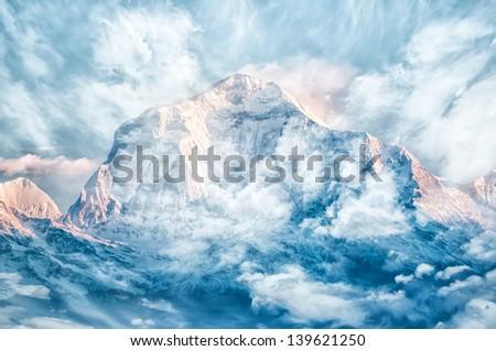 Misty snow mountain - stock photo