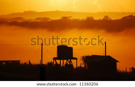 Misty sunrise 2 - stock photo