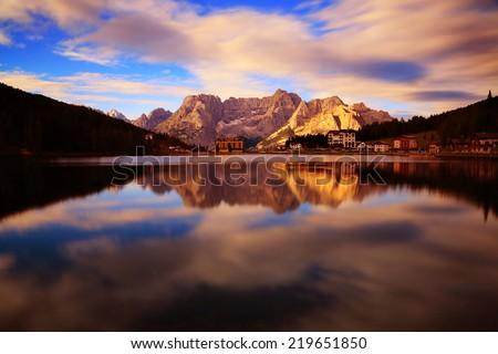 Misurina lake in the morning, Dolomites, Italy - stock photo