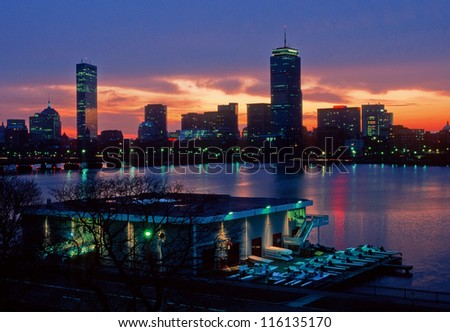 MIT's Pierce Boathouse and Boston's Back Bay - stock photo