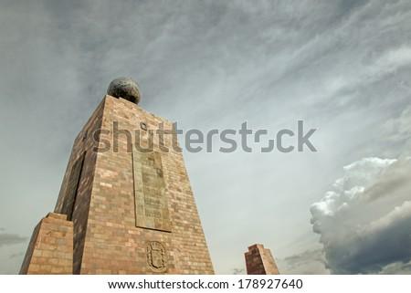 MITAD DEL MUNDO (MIDDLE OF THE WORLD) MONUMENT NEAR QUITO, ECUADOR  - stock photo