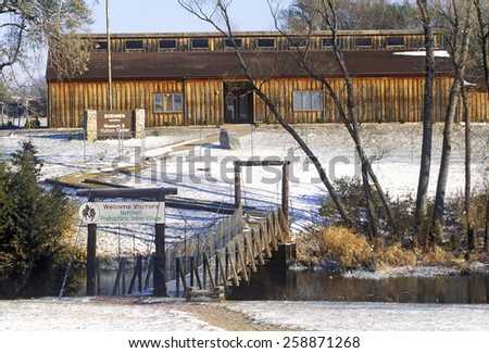 Mitchell Prehistoric Indian Village in Winter snow, SD - stock photo