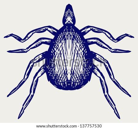 Mite bug. Doodle style. Raster version - stock photo