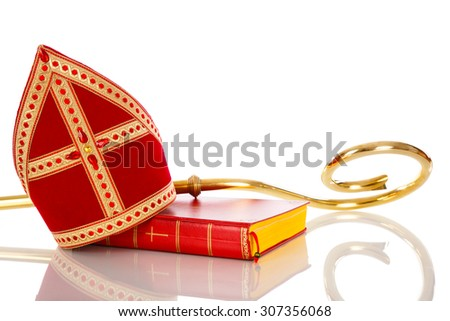 Mitre or mijter and staff of Sinterklaas. Isolated on white backgroud. Part of a dutch santa tradition - stock photo
