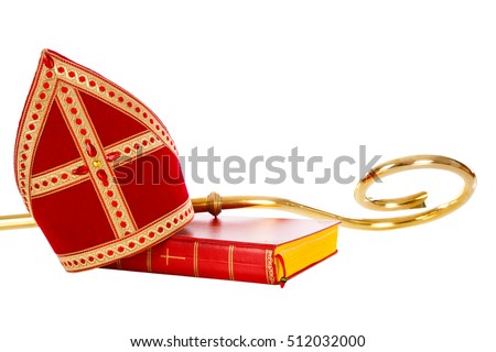 Mitre or mijter book and staff of saint nicholas. Isolated on white backgroud. Part of a dutch santa tradition