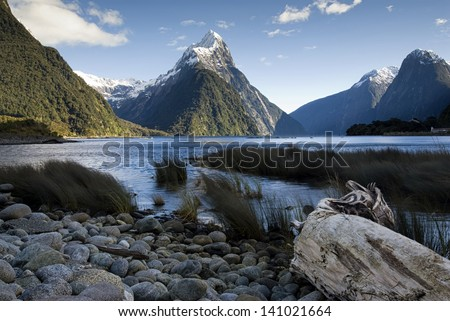 Mitre Peak, Milford Sound, South Island,New Zealand. - stock photo