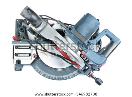 Mitre saw top view isolated on white
