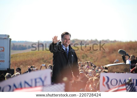 Mitt Romney Campaigning for Election in November 2012 in Lynchurg Virginia Romney Ryan Presidential Campaign Politics Conservative Former Massachusetts Governer - stock photo
