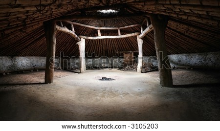 Miwok Indian Hun'ge (Roundhouse) - ceremonial - stock photo