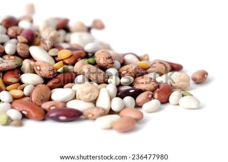 mix bean on white background  - stock photo