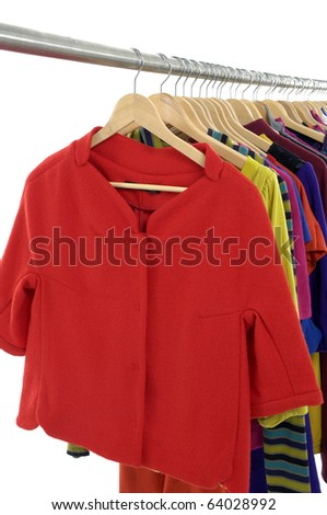 Mix color fashion clothing on hanging - stock photo