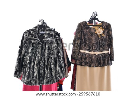 Mix color row of female clothing on hanging  - stock photo