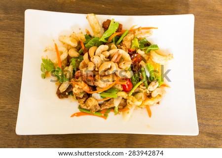 mix crispy spicy salad, spicy thai food  - stock photo