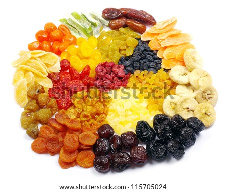 mix dried fruits collection on white - stock photo