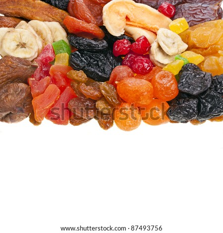 mix dried fruits on white
