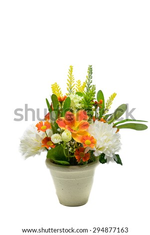 Mix fake flowers in flowerpot isolated on a white