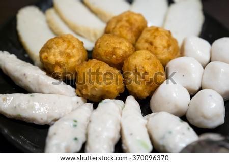 Mix Fish balls uncooked - stock photo