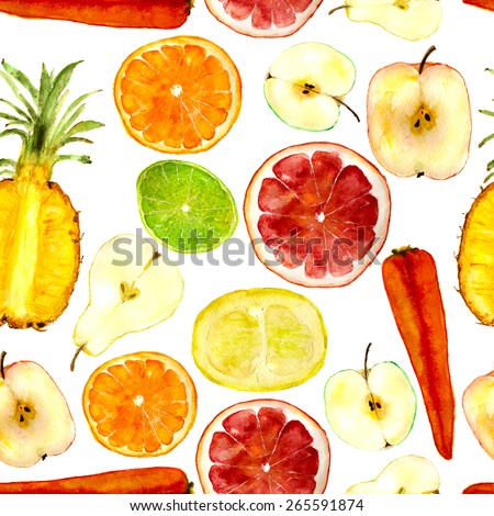 Mix for fruit juices: pineapple, grapefruit, orange, carrot, pomelo, apple, pear. Square for seamless pattern. Hand-painted in watercolor. - stock photo