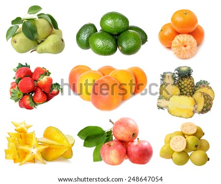 mix fresh fruit isolated on white background - stock photo