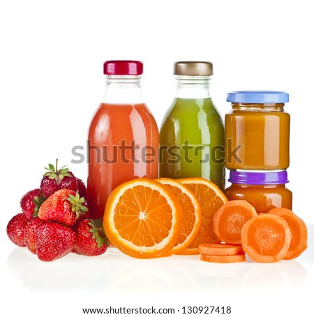 Mix from many fresh fruits and juices in glasses on white background - stock photo