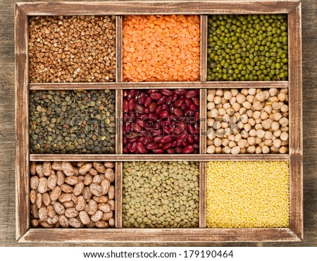 Mix from various beans,lentils and millet, buckwheat - stock photo