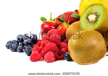 Mix fruit on white background - stock photo