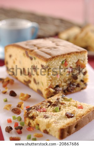 mix fruits cake are my favorite food. - stock photo