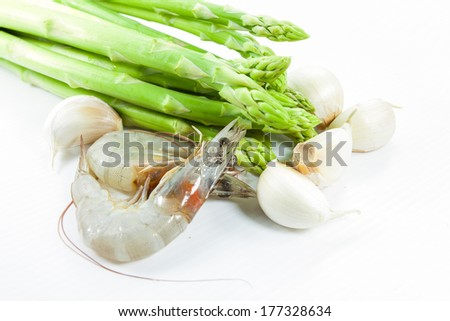 mix Garlic Asparagus and with shrimp - stock photo