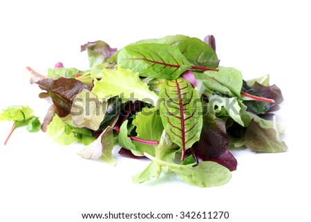 mix green salad isolated on a white background eco organic healthy lifestyle - stock photo