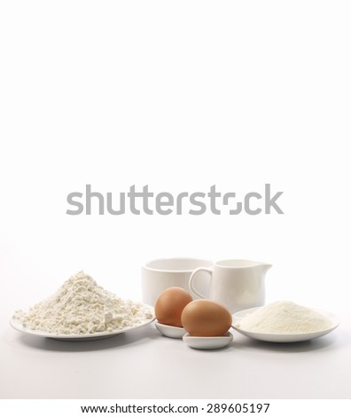 mix ingredients on white background