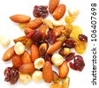 Mix nuts, dry fruits and grapes on a white background - stock photo