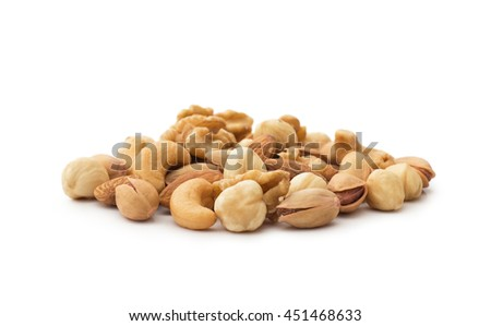 Mix nuts , isolated on white