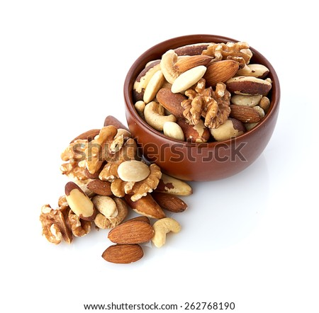 Mix nuts  on white background - stock photo