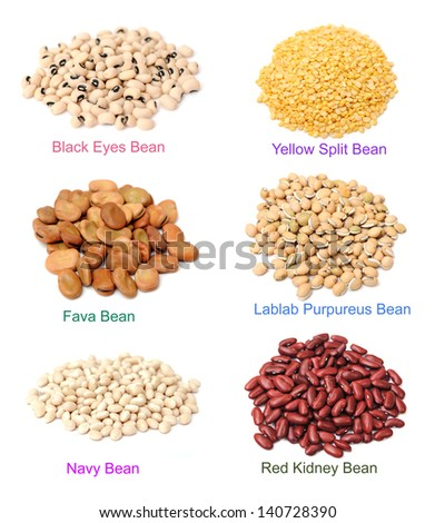 mix of bean on white background