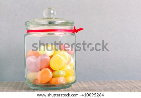 Mix of candies in a glass jar