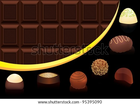 Mix of chocolate candies on chocolate seamless background Vector version is also available - stock photo