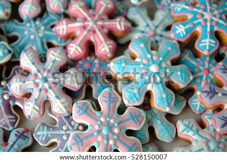 Mix Of Colorful Snowflakes cookies , Snow card , Stars,