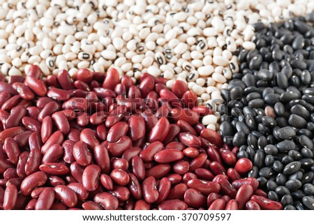 Mix of dried beans: kidney beans, black-eyed beans and black lentils (vigna mungo).