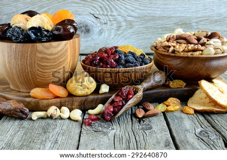 Mix of dried fruits and nuts - symbols of judaic holiday Tu Bishvat - stock photo