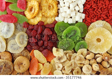 Mix of dried fruits close up - stock photo