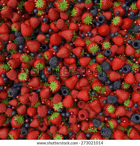 mix of fresh berries with green leaves - stock photo