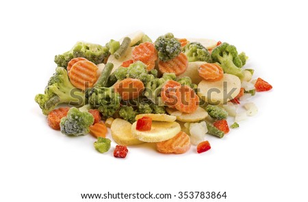 mix of frozen vegetables isolated on white
