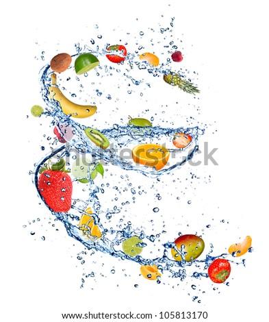 Mix of fruit in water splash, isolated on white background - stock photo