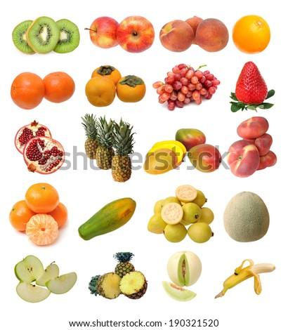 mix of  fruits isolated on white background  - stock photo