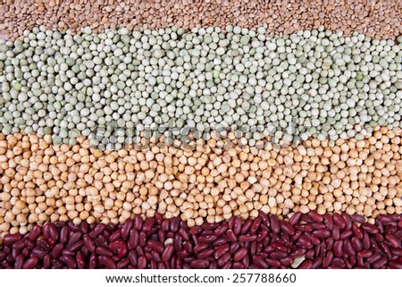 mix of legumes, lentils, green peas, chick peas, kidney beans,  - stock photo