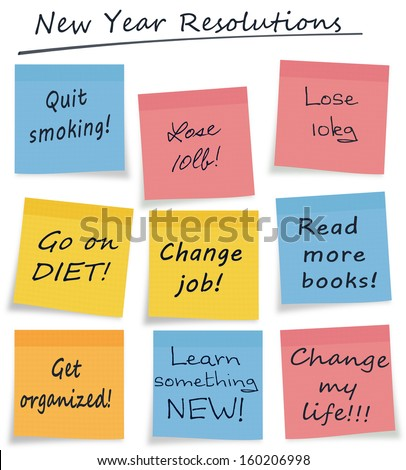 Mix of new year resolution or lifestyle self improvement notes, easily selectable, white background - stock photo