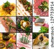mix of nine carpaccio dishes styles - stock photo