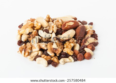 Mix of nuts close up on white.  mixed nut - stock photo