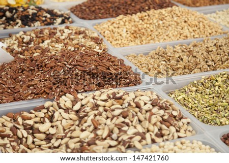 Mix of nuts on the belgium market  - stock photo