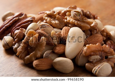 Mix of nuts on the table - stock photo